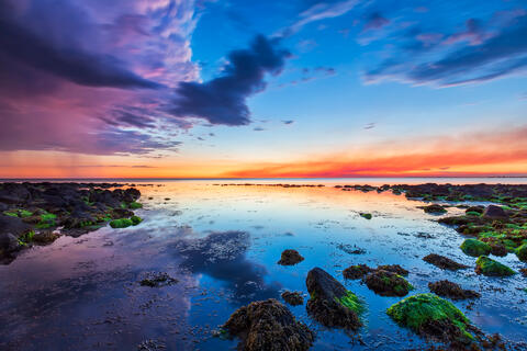 Beautiful sunset at Williamstown beach, with wonderful reflections and colour.