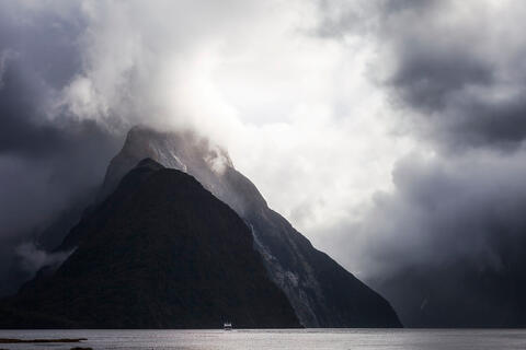 Cloud cover around a beautiful lake and mountains
