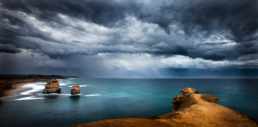 a view for two, stormy skies, gibsons beach, port campbell national park, victoria, australia