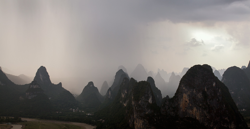 Karst Mountain Peaks with rain clouds, Guilin, China