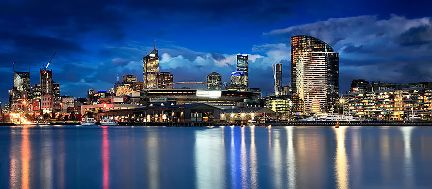 Sunset colours and reflections, Docklands, Melbourne.