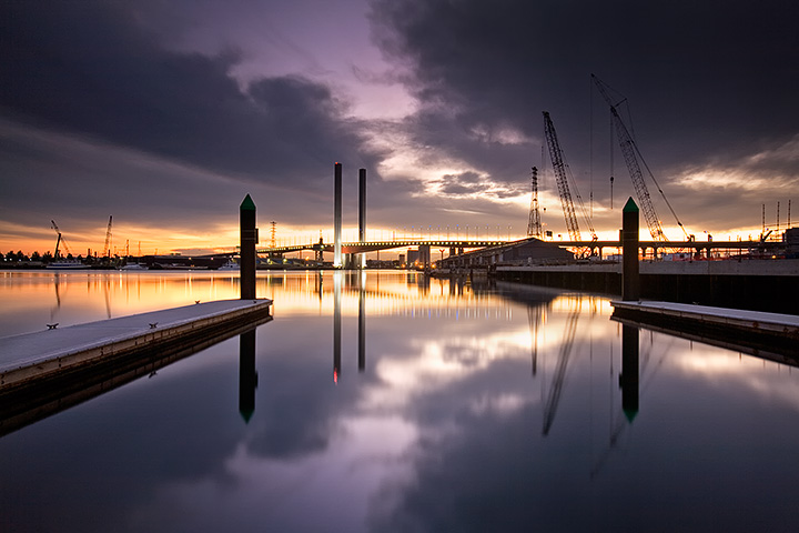 View to the Bolte Bridge, Docklands, Melbourne.