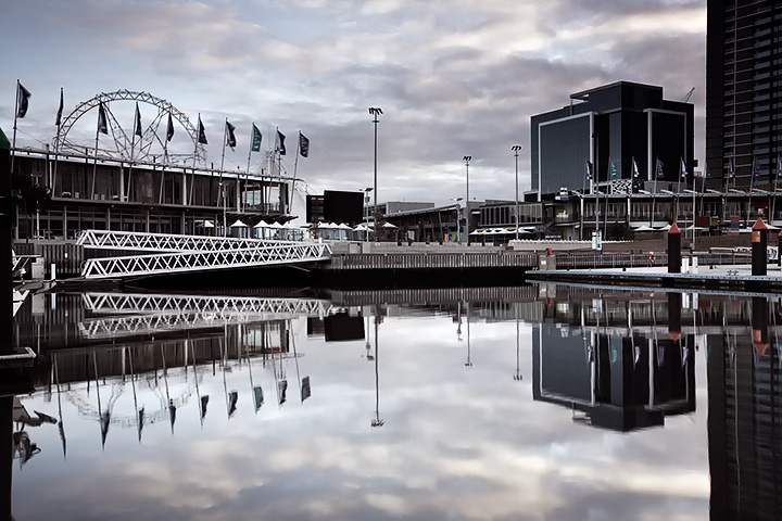 Reflections of Harbour Town, from the Docklands, Melbourne.