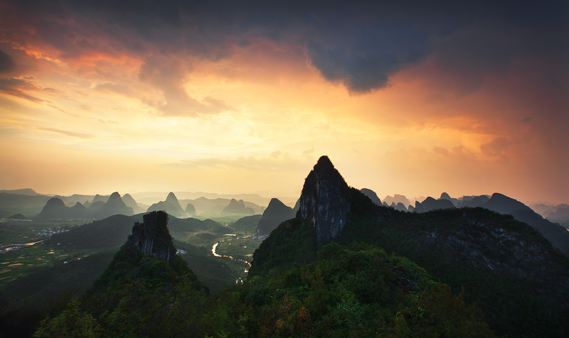 Sunset over Moon Hill, Guilin, China