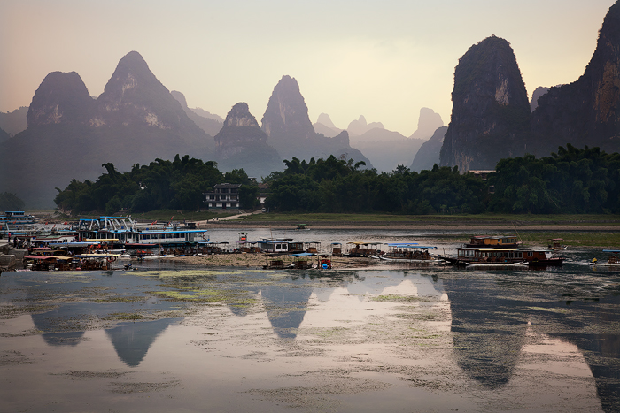 End of the working day, Guilin, China.