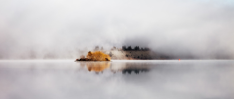 Island in the mist, New Zealand