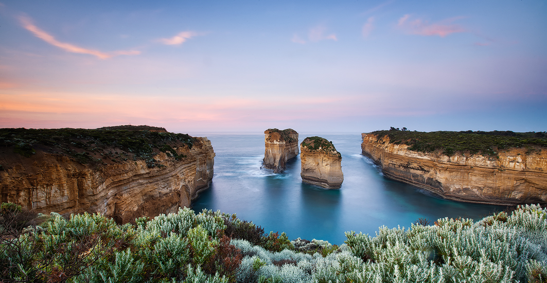 Beautiful blue tones awaken the soul in the morning at Loch Ard Gorge, Port Campbell, Victoria. Photo © Darren J Bennett. All...