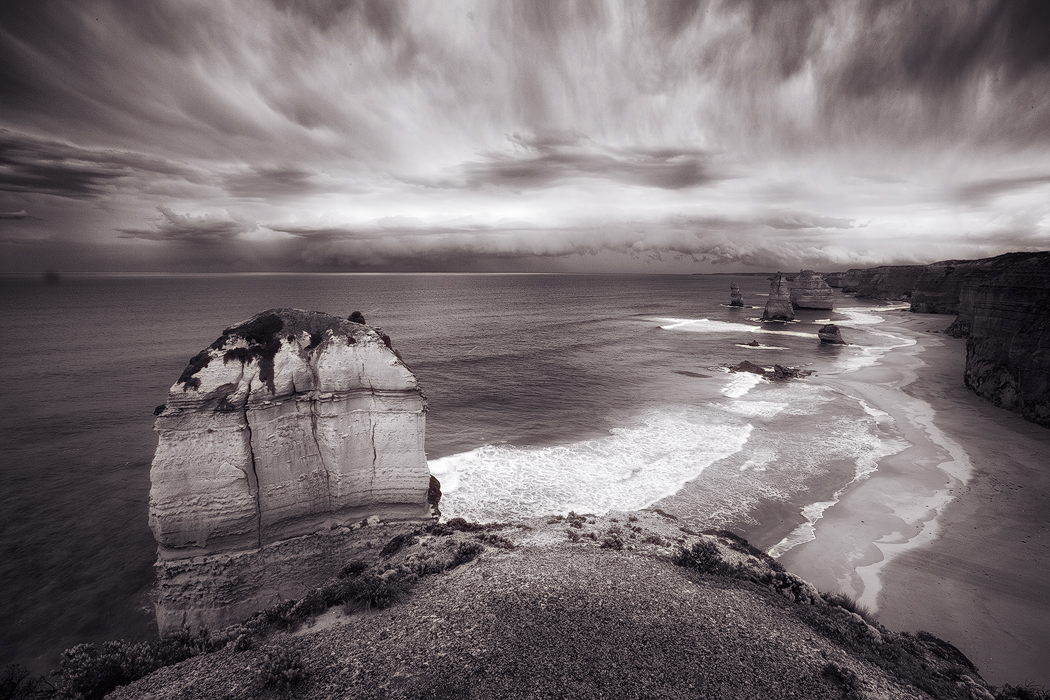 12 Apostles in monochrome, Port Campbell, Victoria. Photo © Darren J Bennett. All Rights Reserved.