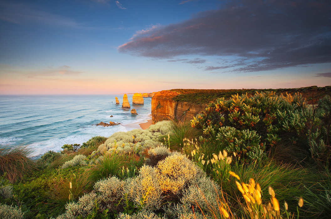 beautiful, morning, 12 apostles, port campbell, great ocean road, victoria, out of reach, water, ocean, waves, rock stack, cliffs...