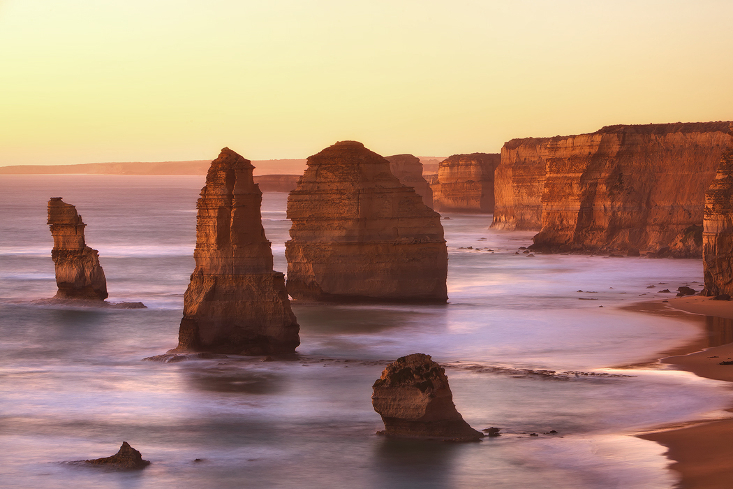 Getting in close to the 12 Apostles with lovely warm light, Port Campbell, Victoria. Photo © Darren J Bennett. All Rights Reserved...