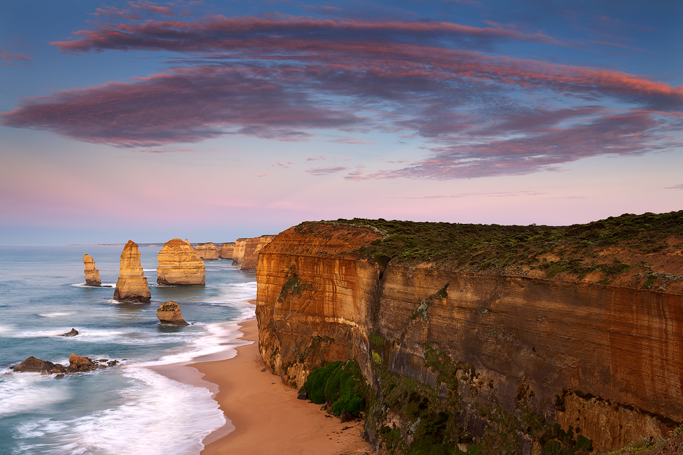 Soft pastel hues in the morning light, 12 Apostles, Port Campbell, Victoria. Photo © Darren J Bennett. All Rights Reserved.