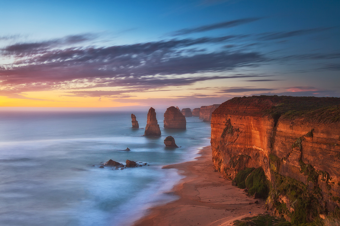 Long exposure and soft colours create a lovely ambience at the 12 Apostles, Victoria. Photo © Darren J Bennett. All Rights Reserved...