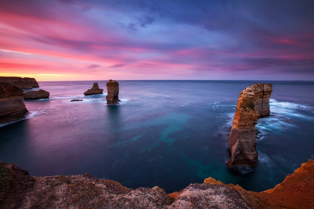 A rich and colourful sunrise greets me at the Razor Back, Victoria. Photo © Darren J Bennett. All Rights Reserved.