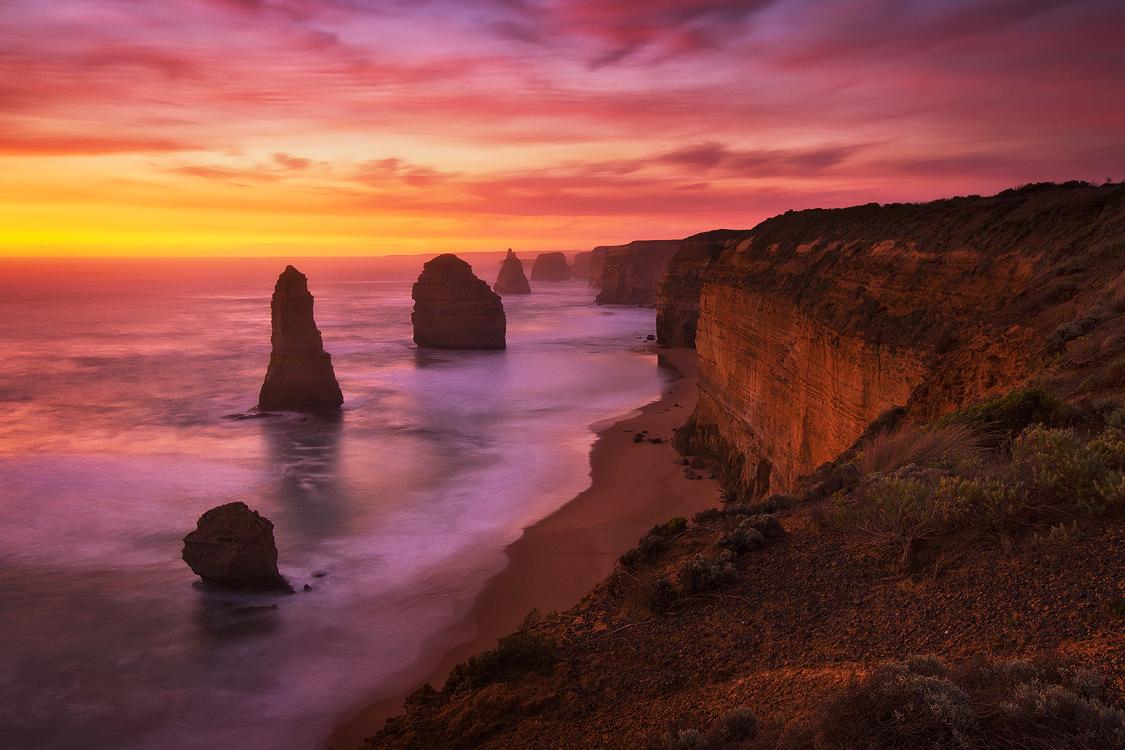 12 Apostles bathed in a beautiful sunset, Victoria. Photo © Darren J Bennett. All Rights Reserved.