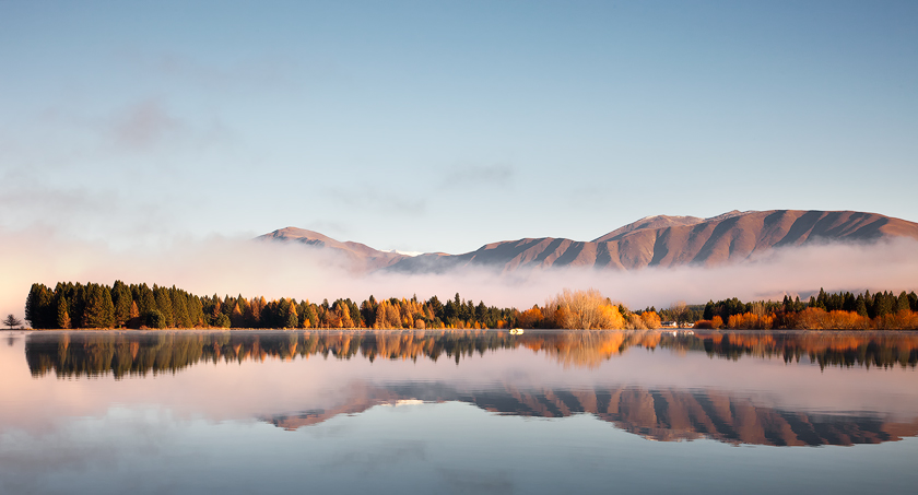 Reflections and mist, New Zealand
