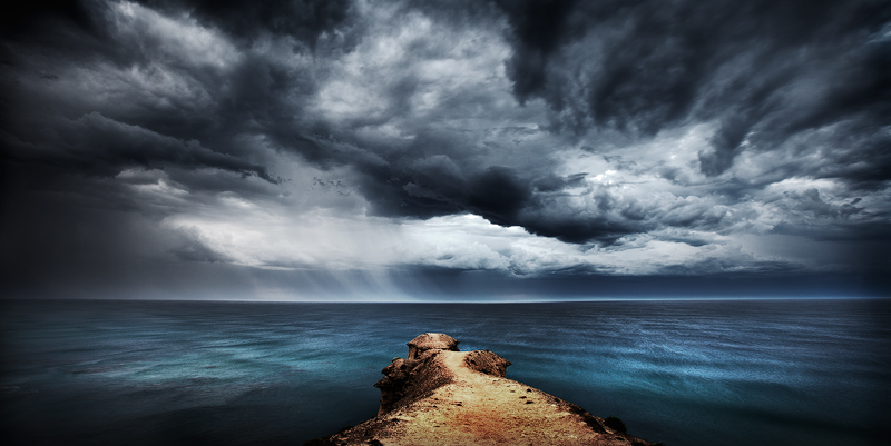 Stormy skies at Port Campbell National Park, Victoria, Australia.